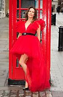 Kimberleigh Gelber, actress and newsreader, seen doing a fashion shoot in Covent Garden wearing a Giambattista Valli dress, London. 08.10.20