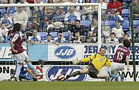 Photo: Aidan Ellis.<br /> Wigan Athletic v West Ham United. The Barclays Premiership. 28/04/2007.<br /> West Ham's Yossi Benayouan scores the second goal