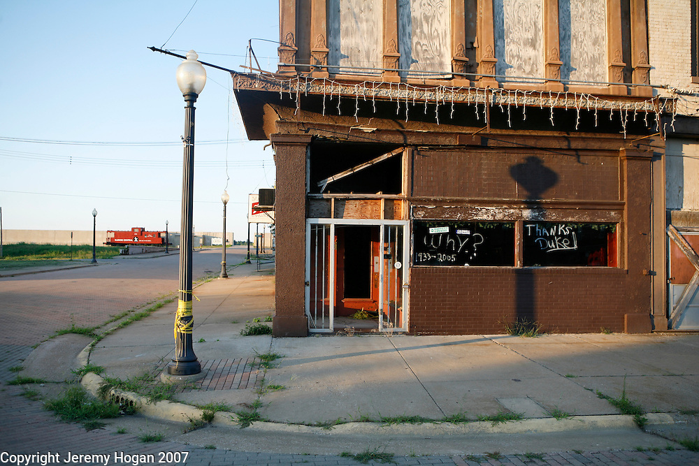 The flood wall separating Cairo, Illinois from the Ohio River is seen in the background at the corner of 8th and Commercial in downtown Cairo, Illinois, a city at the confluence of the Ohio and Mississippi rivers in decay for decades.
