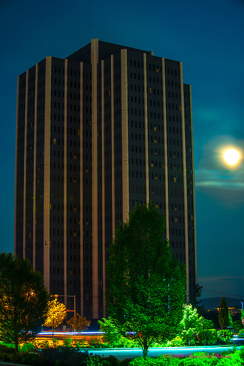 BETHLEHEM, PA - A full moon rises over Martin Tower, former world headquarters of Bethlehem Steel on Saturday, May 18, 2019. The building will be imploded at 7 a.m. on the next morning.<br /> <br /> ©DonnaFisherPhotography, LLC<br /> DonnaFisherPhoto.com