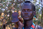 Bena Man holding headrest, Bena Tribe, Omo Valley, Ethiopia, portrait, person, one, tribes, tribal, indigenous, peoples, Southern, ethnic, rural, local, traditional, culture, primitive, cattle herder