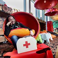 Nederland, Amsterdam , 27 maart 2014.<br /> Omaima El Tahir is genomineerd voor de ECHO Award (Expertisecentrum Allochtonen Hoger Onderwijs Award).<br /> <br /> Op de foto: Omaima haar droom. Komen te werken als arts op de afdeling kindergeneeskunde. Op de foto zit Omaima in een stoel bij Kinderstad.<br /> Foto:Jean-Pierre Jans