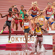 TOKYO, JAPAN August 4: Gold medal winner Peruth Chemutai of Uganda takes an early lead during the 3000m Steeplechase for women closely followed by bronze medal winner Hyvin Kiyeng of Kenya, Beatrice Chepkoech of Kenya and silver medal winner Courtney Frerichs of the United States during the Track and Field competition at the Olympic Stadium at the Tokyo 2020 Summer Olympic Games on August 4th, 2021 in Tokyo, Japan. (Photo by Tim Clayton/Corbis via Getty Images)