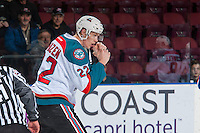 KELOWNA, CANADA - JANUARY 4: Braydyn Chizen #22 of the Kelowna Rockets drops the gloves against the Spokane Chiefs on January 4, 2017 at Prospera Place in Kelowna, British Columbia, Canada.  (Photo by Marissa Baecker/Shoot the Breeze)  *** Local Caption ***