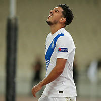 ATHENS, GREECE - OCTOBER 14: Dimitris Limniosof Greece during the UEFA Nations League group stage match between Greece and Kosovo at OACA Spyros Louis on October 14, 2020 in Athens, Greece. (Photo by MB Media)