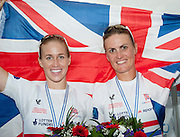 Amsterdam. NETHERLANDS.  GBR W2-, left. Helen GLOVER and Heather STANNING, Gold Medalist Women's Pair, winning the Gold Medalist, Men's Four. De Bosbaan Rowing Course, venue for the 2014 FISA  World Rowing. Championships.  13:01:25  Saturday  30/08/2014[Mandatory Credit; Peter Spurrier/Intersport-images]