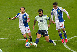 BLACKBURN, ENGLAND - Saturday, October 3, 2020: Cardiff City's Marlon Pack (C) is challenged by Blackburn Rovers' Lewis Holtby (L) and Tyrhys Dolan during the Football League Championship match between Blackburn Rovers FC and Cardiff City FC at Ewood Park. The game ended in a 0-0 draw. (Pic by David Rawcliffe/Propaganda)
