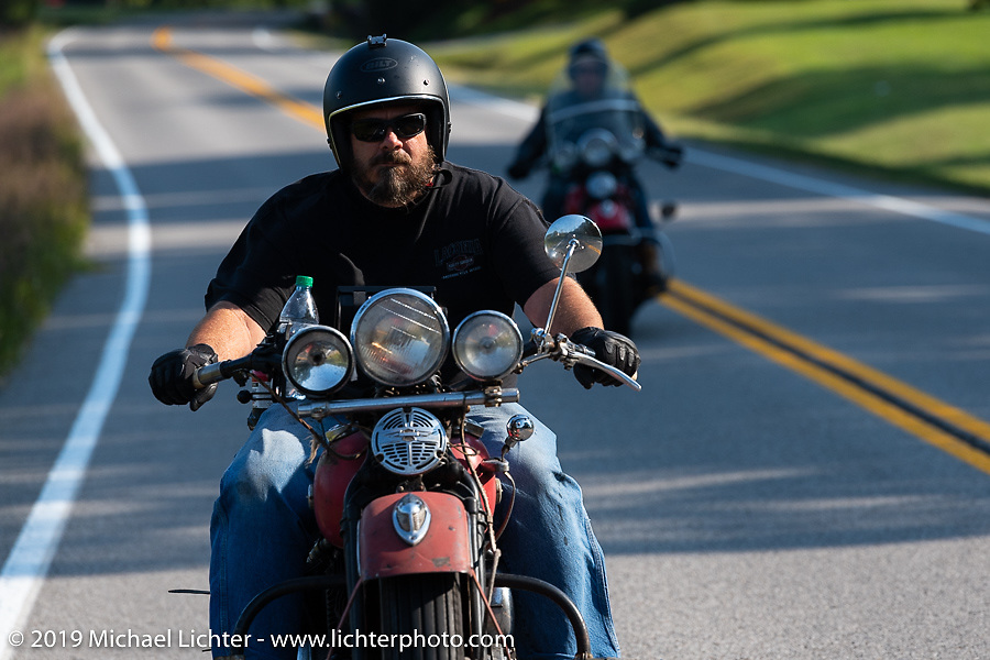 Richard Kaylor riding his 1948 Harley-Davidson Panhead in the Cross Country Chase motorcycle endurance run from Sault Sainte Marie, MI to Key West, FL (for vintage bikes from 1930-1948). Stage 5 had riders cover 213 miles from Bowling Green, KY to Chatanooga, TN USA. Tuesday, September 10, 2019. Photography ©2019 Michael Lichter.