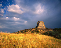 Clearing summer storm over Devils Tower, Devils Tower National Monument Wyoming USA