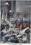 Troops attempting to clear streets during Arab/Jewish riots. Algeria. From 'Le Petit Journal', Paris, 6 February 1898.