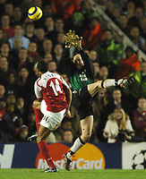 Photo: Javier Garcia/Back Page Images Mobile +447887 794393 Arsenal v Rosenborg, UEFA Champions League 07/12/04, Highbury<br />Thierry Henry makes it 2-0 flicking the ball over Espen Johnsen
