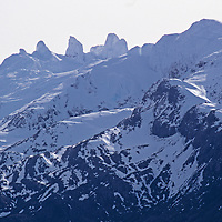 Cordillera Sarmiento, Patagonia, Chile. Unnamed, unclimbed peaks at extreme southern tip of the Andes.
