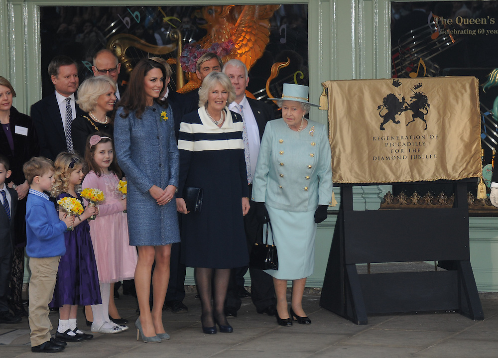 Queen Elizabeth II, Camilla Duchess of Cornwall and Catherine Duchess of Cambridge visit Fortnum and Mason, London, UK. 01/03/2012 Anne-Marie Michel/CatchlightMedia