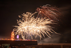 © Licensed to London News Pictures. 21/08/2015. Weston-super-Mare, North Somerset, UK.  Fireworks end an evening party at BANKSY's Dismaland show at the old Tropicana on Weston seafront. Photo credit : Simon Chapman/LNP