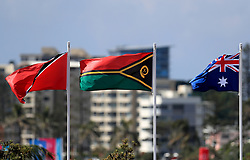 Left to right, the flags of Trinidad and Tobago, Vanautu and Australia during day five of the 2018 Commonwealth Games in the Gold Coast, Australia.