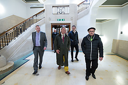 © Licensed to London News Pictures . 25/05/2016 . Bolton , UK . NIGEL FARAGE inside Bolton Town Hall . The UKIP referendum bus tour , campaigning for a UK Brexit , lead by Nigel Farage , in Victoria Square , Bolton . Photo credit : Joel Goodman/LNP