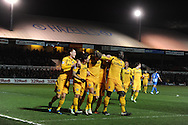 Newport county players celebrate after Harry Worley's early goal. Skybet football league two match, Newport county v Hartlepool Utd at Rodney Parade in Newport , South Wales on Friday 15th November 2013. pic by Andrew Orchard, Andrew Orchard sports photography,