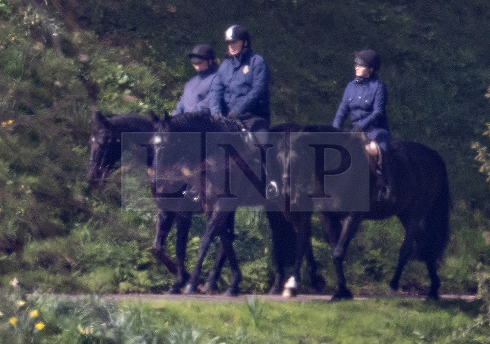 © Licensed to London News Pictures. 27/03/2021. Windsor, UK. Prince Andrew, Duke of York, is seen horse riding at Windsor Castle. The Duke of Edinburgh has returned to WIndsor after being in St Barts and Edward VII hospitals. Photo credit: Peter Macdiarmid/LNP