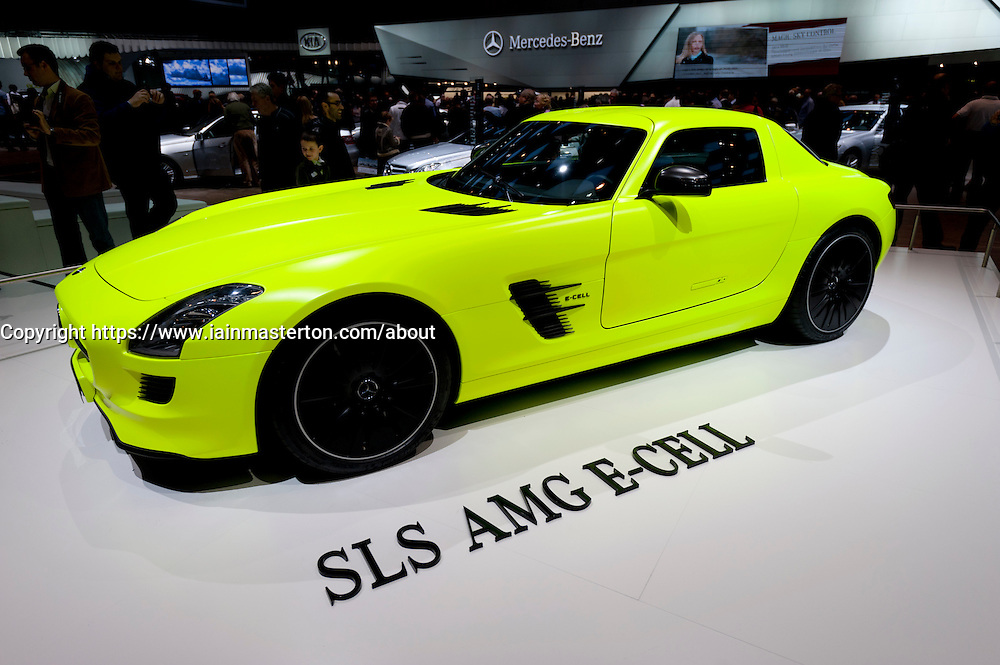 Mercedes SLS AMG E-Cell electric supercar at the Geneva Motor Show 2011 Switzerland