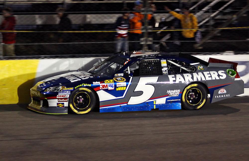 Apr 28, 2012; Richmond, VA, USA; NASCAR Sprint Cup driver Kasey Kahne (5) during the Capital City 400 at Richmond International Raceway. Mandatory Credit: Peter Casey-US PRESSWIRE.