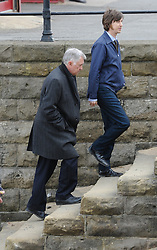 © Licensed to London News Pictures. 24/04/2013..Saltburn, Cleveland..Actors Martin Shaw (L) and Lee Ingleby pictured during filming on the set of Inspector George Gently in Saltburn, Cleveland. This is the seventh series of the popular BBC drama...Photo credit : Ian Forsyth/LNP
