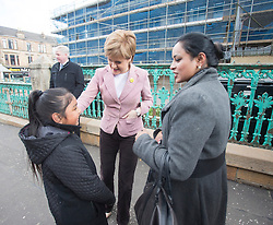 First Minister of Scotland and leader of the SNP Nicola Sturgeon, out on the election trail to make sure people are out voting today, May 7, 2015 in Glasgow, Scotland.