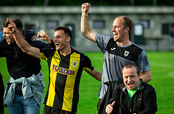 Rok Hanzic (R), coach of Radomlje celebrates after qualilfying to the First Slovenian league Prva liga during football match between NK Kalcer Radomlje and NK Brezice Terme Catez in 20th Round of 2. SNL 2020/21, on May 15, 2021 in Sports park Radomlje, Slovenia. Photo by Vid Ponikvar / Sportida