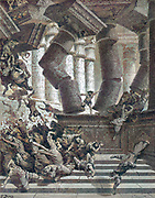 Machine colourized (AI) Death of Samson [Let me die with the Philistines!] Judges 16:30 From the book 'Bible Gallery' Illustrated by Gustave Dore with Memoir of Dore and Descriptive Letter-press by Talbot W. Chambers D.D. Published by Cassell & Company Limited in London and simultaneously by Mame in Tours, France in 1866