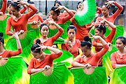 China, Guilin, schoolgirls dance during a sports lesson