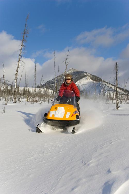 A snowmobiler enjoys a fresh snowfall on a trail in the White Mountain National Recreation Area, near Fairbanks, Alaska