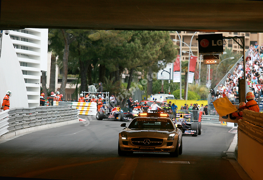 Safety car driver Bernd Maylaender leading Mark Webber and Sebastian Vettel (Red Bull) into the tunnel at the 2010 Monaco Grand Prix. Photo: Grand Prix Photo