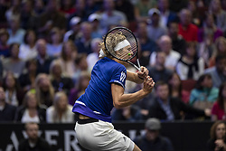 September 22, 2018 - Chicago, Illinois, U.S - Team Europe member ALEXANDER ZVEREV of Germany hits a backhand during the first singles match between Team Europe and Team World on Day Two of the Laver Cup at the United Center in Chicago, Illinois. (Credit Image: © Shelley Lipton/ZUMA Wire)