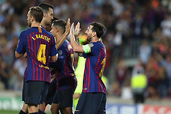September 18, 2018 - Barcelona, Catalonia, Spain - Lionel Messi of FC Barcelona celebrates with his teammates after scoring his side's third goal during the UEFA Champions League, Group B football match between FC Barcelona and PSV Eindhoven on September 18, 2018 at Camp Nou stadium in Barcelona, Spain (Credit Image: © Manuel Blondeau via ZUMA Wire)