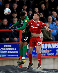 Accrington Stanley's Billy Kee (right) and Coventry City's Dujon Sterling contest a header.