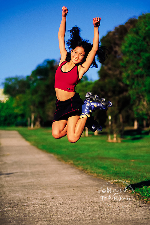 Inline skater jumping for joy ****Model Release available