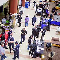 Students visit with recruiters during the Military Law Enforcement Firefighters Career Fair at UNM-Gallup Wednesday. The university will host another career fair March 10 that showcases real estate and home improvement careers.