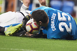 March 2, 2019 - Madrid, Madrid, Spain - Thibaut Courtois (goalkeeper; Real Madrid) in action during La Liga match between Real Madrid and FC Barcelona at Santiago Bernabeu Stadium on March 3, 2019 in Madrid, Spain (Credit Image: © Jack Abuin/ZUMA Wire)