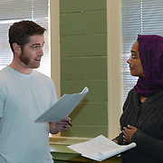 """Brian Chamberlain as Blair and Kortney Adams as Zeba in a rehearsal for Kent Stephen's """"Love and Faith and Other Dirty Words"""""""