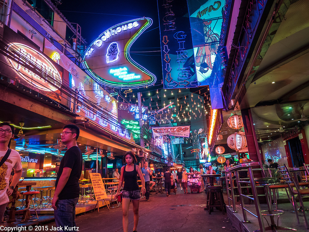 20 MAY 2015 - BANGKOK, THAILAND:  Lights on Soi Cowboy in Bangkok. Most of the electricity consumed in Bangkok is generated in Laos and Myanmar. In 2013, the Bangkok Metropolitan Region consumed about 40 per cent of the Thailand's electricity, even though the BMR is only 1.5 per cent of the country's land area and about 22 per cent of its population.  PHOTO BY JACK KURTZ