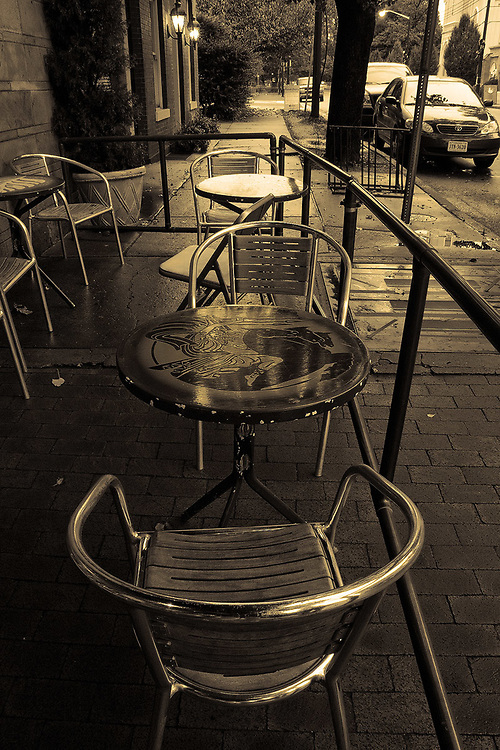 Tables wait for customers outside of Hyperion Espresso in the historic district of Fredericksburg, VA.
