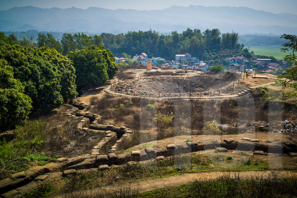 Bomb crater of Hill A1 'Eliane 2' surrounded by trenches in Dien Bien Phu, Muong Thanh Valley, Dien Bien Province, Vietnam, Southeast Asia