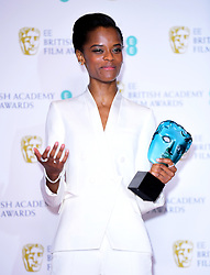 Letitia Wright with her EE Rising Star Bafta in the press room at the 72nd British Academy Film Awards held at the Royal Albert Hall, Kensington Gore, Kensington, London.