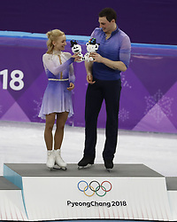 February 15, 2018 - Pyeongchang, KOREA - Aljona Savchenko and Bruno Massot of Germany (middle); Wenjing Sui and Cong Han of China (left); and Meagan Duhamel and Eric Radford of Canada (right) after competing in pairs free skating during the Pyeongchang 2018 Olympic Winter Games at Gangneung Ice Arena. (Credit Image: © David McIntyre via ZUMA Wire)