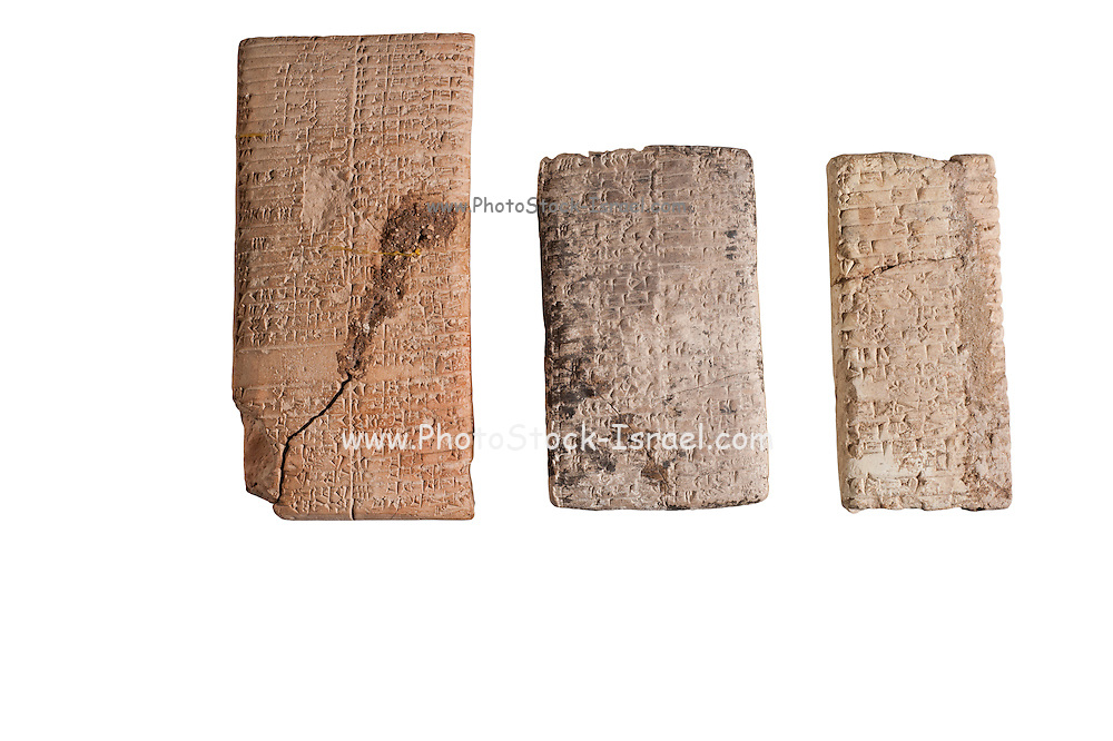 3 Cuneiform clay tablets with economic text circa 2000 BCE