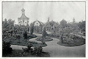 Black and white Photograph of a Rose Garden from 1900. Appeared in the Rosen-Zeitung, Organ des Vereins Deutscher Rosenfreunde, 1887 [Periodical of the German Rose Society (Vereins Deutscher Rosenfreunde)] by C. P. Strassheim
