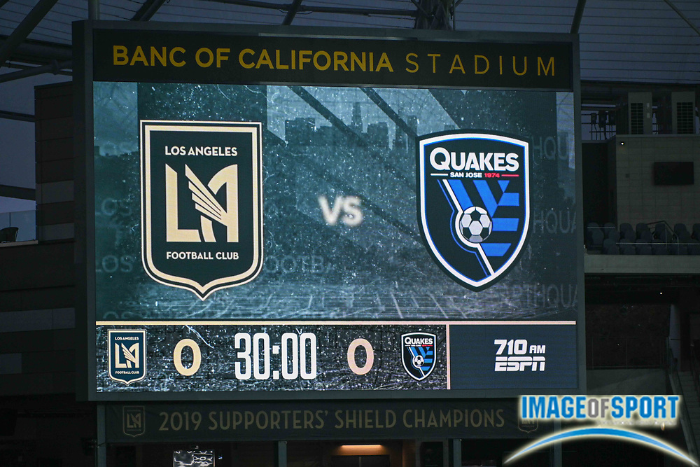 The scoreboard at the Banc of California Stadium is illuminated with LAFC versus San Jose Earthquakes logos before a MLS soccer game, Sunday, Sept. 27, 2020, in Los Angeles. The San Jose Earthquakes defeated LAFC 2-1.(Dylan Stewart/Image of Sport)