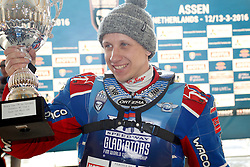 13.03.2016, Assen, BEL, FIM Eisspeedway Gladiators, Assen, im Bild Siegerehrung Sieger Dmitry Khomitsevich (RUS) // during the Astana Expo FIM Ice Speedway Gladiators World Championship in Assen, Belgium on 2016/03/13. EXPA Pictures © 2016, PhotoCredit: EXPA/ Eibner-Pressefoto/ Stiefel<br /> <br /> *****ATTENTION - OUT of GER*****