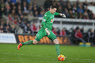 Crystal Palace goalkeeper Wayne Hennessey in action. Barclays Premier league match, Swansea city v Crystal Palace at the Liberty Stadium in Swansea, South Wales on Saturday 6th February 2016.<br /> pic by Andrew Orchard, Andrew Orchard sports photography.