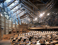 THE SCOTTISH PARLIAMENT, THE ROYAL MILE, EDINBURGH, SCOTLAND, UK, EMBT + RMJM, INTERIOR, DEBATING CHAMBER FROM VISITORS GALLERY