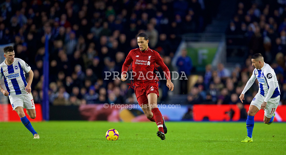 BRIGHTON AND HOVE, ENGLAND - Saturday, January 12, 2019: Liverpool's Virgil van Dijk during the FA Premier League match between Brighton & Hove Albion FC and Liverpool FC at the American Express Community Stadium. (Pic by David Rawcliffe/Propaganda)